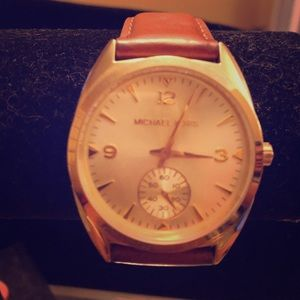 Michael Kors camel leather gold watch